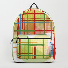 Abstract Lines Shapes Green and Yellow Backpack