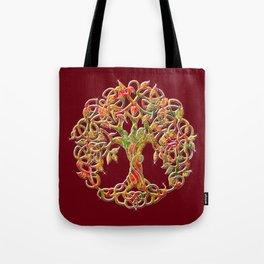 Tree of Life Maroon Tote Bag