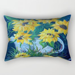 Sunflowers in a Country Pot Rectangular Pillow