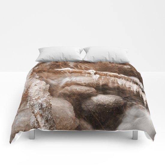 Frozen Harp Falls - Sepia Nostalgia Comforters