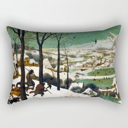The Hunters in the Snow (winter) by Pieter Bruegel the Elder (1565) Rectangular Pillow
