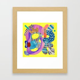 Blue Hat in Yellow Framed Art Print