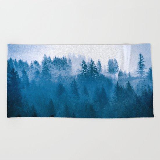 Blue Winter Day Foggy Trees Beach Towel