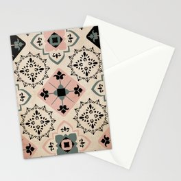 Mediterranean Inspired Tiles in Pink and Black Stationery Cards