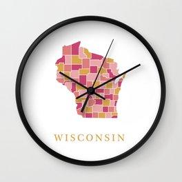 Wisconsin map Wall Clock
