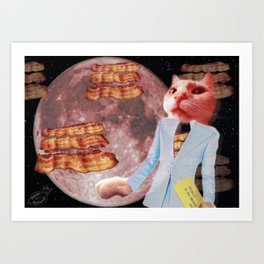 Ticket to the Moon Full of Bacon Art Print
