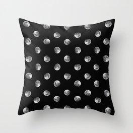 Lunar Moon - black Throw Pillow