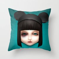 abigail larson Throw Pillows featuring Misfit - Abigail by Raymond Sepulveda