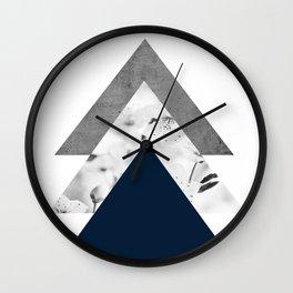 Blue grey monochrome blossom arrows Wall Clock