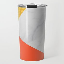 Carrara Marble with Gold and Pantone Flame Color Travel Mug