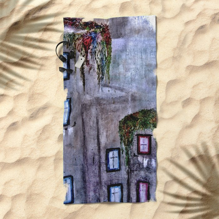 Houses in Milan in the evening Italy Beach Towel
