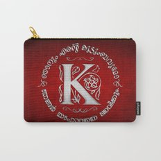 Joshua 24:15 - (Silver on Red) Monogram K Carry-All Pouch