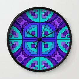 Blue-Violet Gears Pseudo Quilt Wall Clock