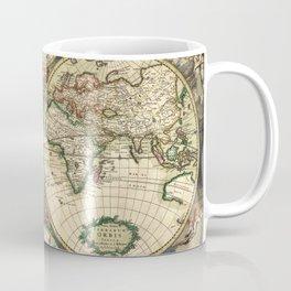 Old map of world hemispheres. Created by Frederick De Wit, 1668 Coffee Mug