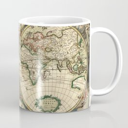 Old map of world hemispheres. Created by Frederick De Wit, 1668 Coffee Mug
