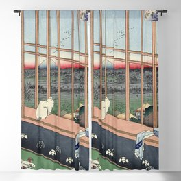 Utagawa Hiroshige Japanese Woodblock Cat Print Blackout Curtain