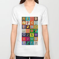 alphabet V-neck T-shirts featuring Alphabet by rob art | simple
