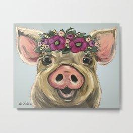 Pig Painting, Flower Crown Pig, Cute Farm Animal Metal Print