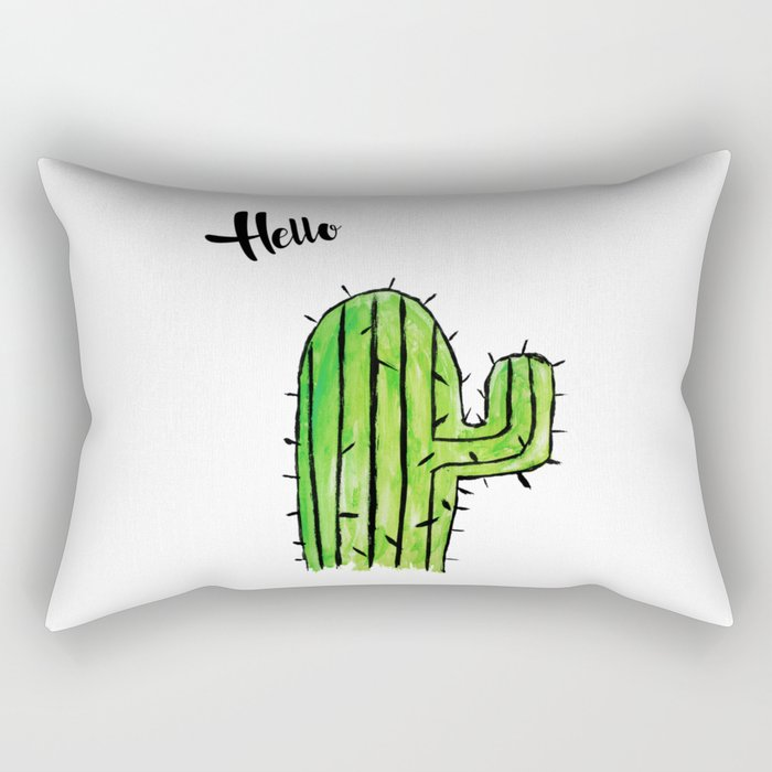 Hello Cactus Rectangular Pillow