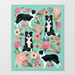 Border Collie cute florals dog gifts for collie black and white puppy dog herding dog Canvas Print