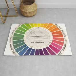 Vintage Color Wheel Art Teaching Tool Rainbow Mood Chart Rug