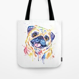 Fawn Pug Colorful Watercolor Pet Portrait Painting Tote Bag