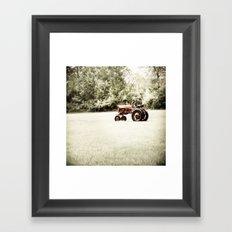 Vintage Red Tractor Framed Art Print