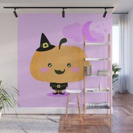 Halloween pumpkin in witch costume Wall Mural