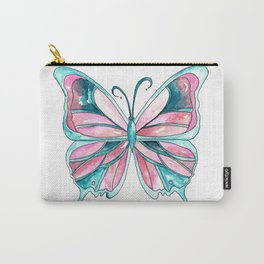 Pink and Blue Watercolor Butterfly Carry-All Pouch