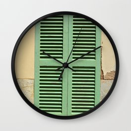 Green hatch in an old wall Wall Clock
