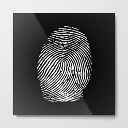Black & White Fingerprint Metal Print