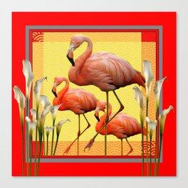 SURREAL FLAMINGOS CALLA LILIES RED ART Canvas Print