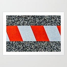 Red warning tape across granite stone Art Print
