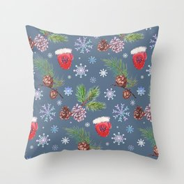 christmas pattern with red santa mittens Throw Pillow