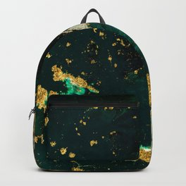 Abstract Pour Painting Liquid Marble Abstract Dark Green Painting Gold Accent Agate Stone Layers Backpack