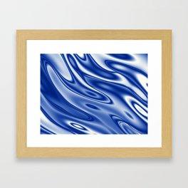 Blue waves pattern Framed Art Print