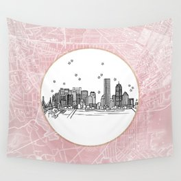 Boston, Massachusetts City Skyline Illustration Drawing Wall Tapestry