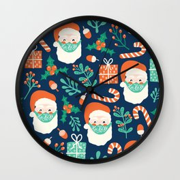 Santa Claus Wearing A Face Mask Wall Clock