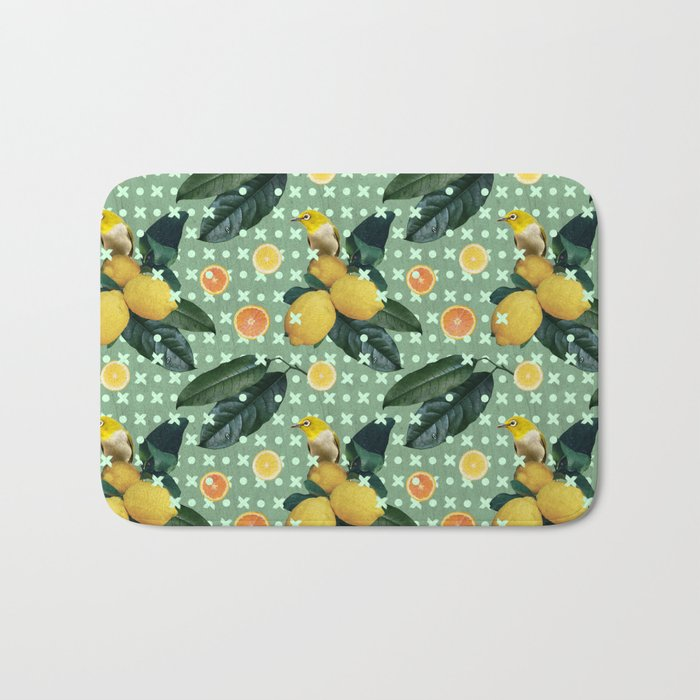 Bird & lemons green pattern Bath Mat