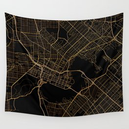 Black and gold Perth map Wall Tapestry