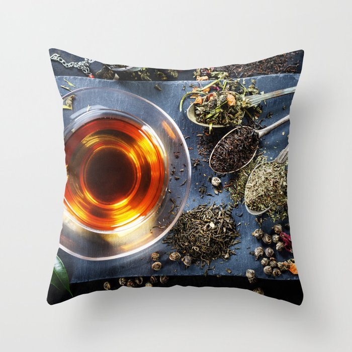 Tea composition with old spoon on dark background Throw Pillow