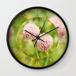 Pink chives flowering plants Wall Clock