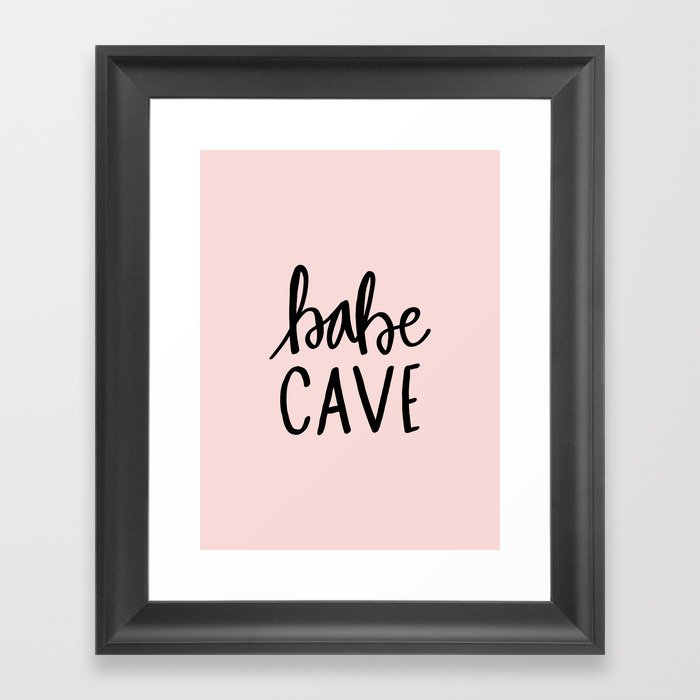 Pink and black babe cave typography Framed Art Print