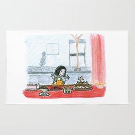 The little girl in orange. The bakery Rug