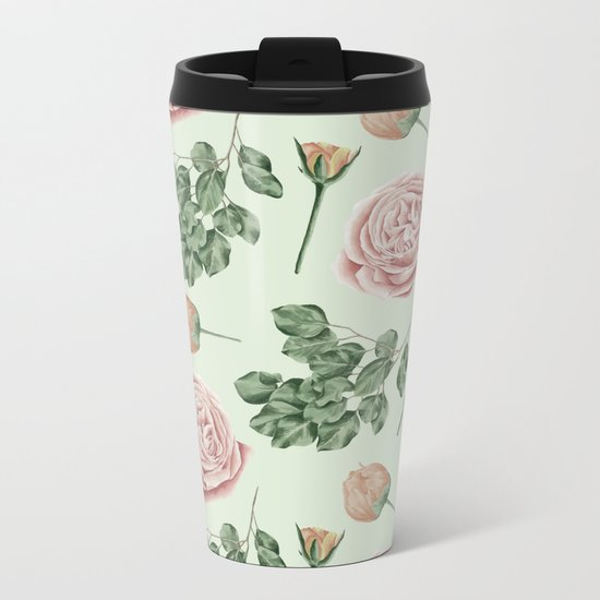 Rose Garden Delight Mint Green + Pink Metal Travel Mug