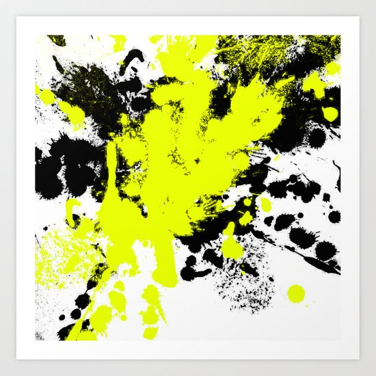 Surprise! Black and yellow abstract paint splat artwork Art Print