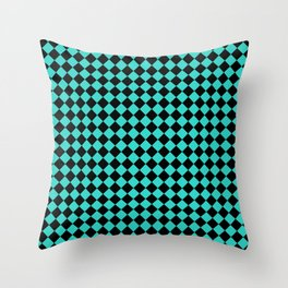 Black and Turquoise Diamonds Throw Pillow