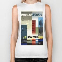 New York, American Air Lines - Vintage Poster Biker Tank