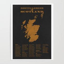 Distilleries of Scotland (woodpress) Poster