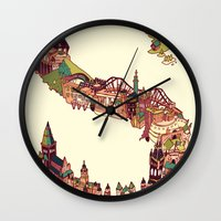 scotland Wall Clocks featuring S is for Scotland by Kelly Chilton